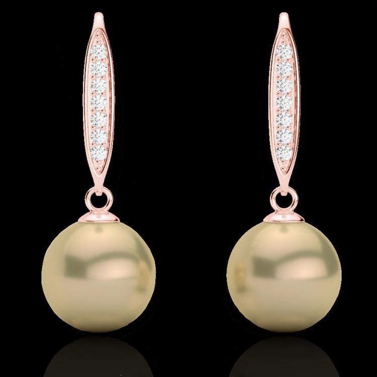 0.18 CTW Micro Pave VS/SI Diamonden Pearl Designer Earrings – JVS ...