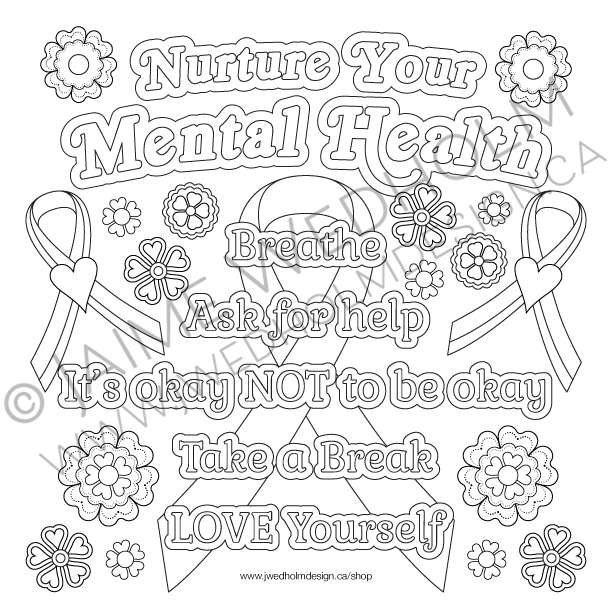 Nurture Your Mental Health Colouring Page