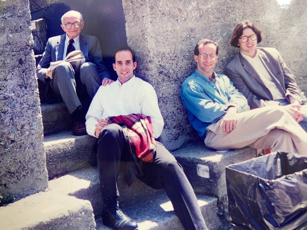 Joshua Henkin (center, blue shirt) with his father Louis (far left), brother Daniel and friend Andrea Brott in 1995.