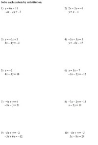 100+ [ Linear Equations Substitution Worksheets ]