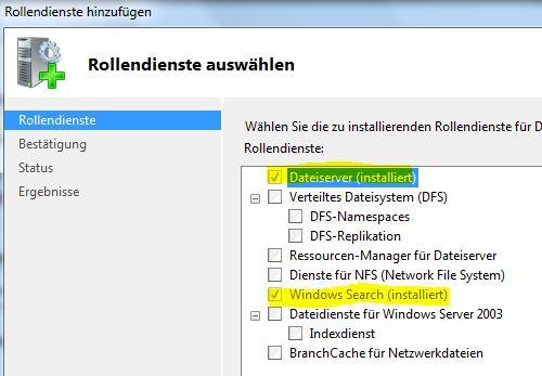 Windows Server 2008 R2: Windows Search aktivieren (3/3)