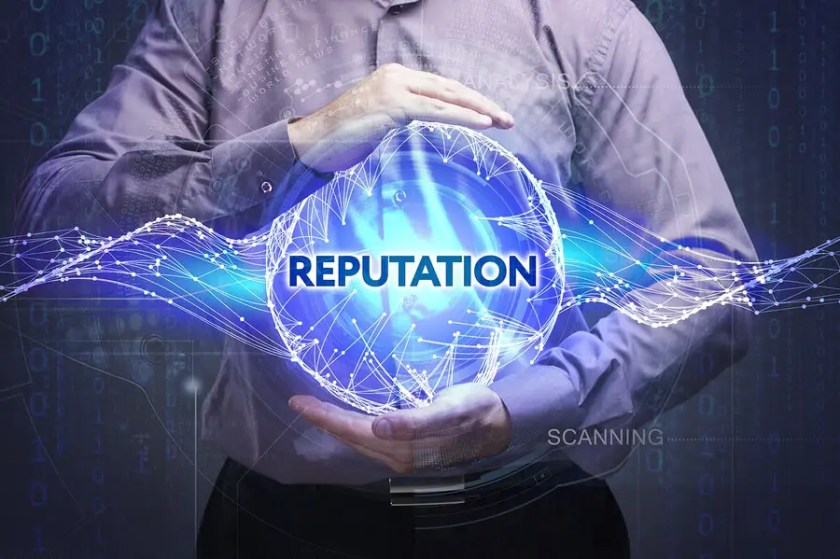 Business Technology Internet and network concept. Young businessman shows the word: Reputation