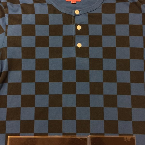 9c67ff466b5a 2013 Supreme Checkered Henley Tee Blue   Jwong Boutique