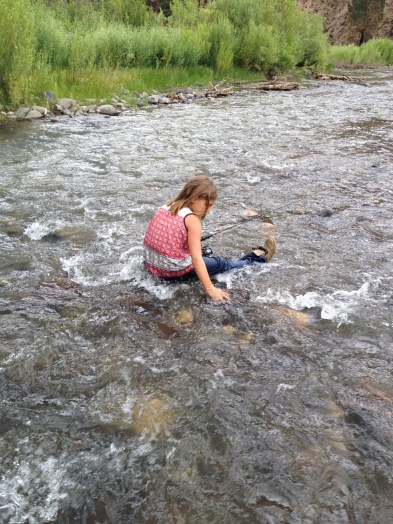 My Granddaughter enjoying the stream