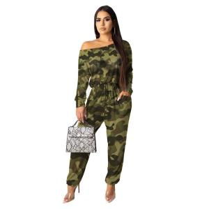 Camouflage Leopard Print Sexy Jumpsuit Women One Shoulder Full Sleeve Party Romper Streetwear High Waist One Piece Long Overall
