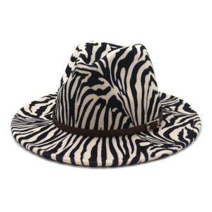 women winter hats wide brim zebra print belt band fedora hats formal dress wedding church black grey vintage felted fedora hats