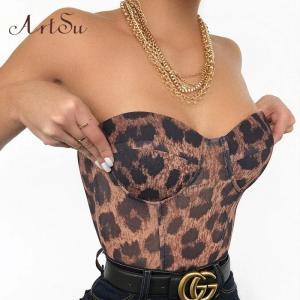 Artsu Leopard Print Sexy Strapless Crop Top Party Club Women Tops Off Shoulder Zipper Bustier Tube Tops New Summer
