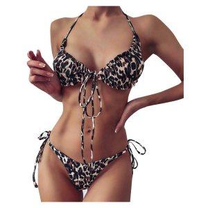 Drop Ship Sexy Bikinis Leopard Print Push Up Bikini Padded Bra Straps Low Waist Lacing Swimsuit Female Swimwear D12
