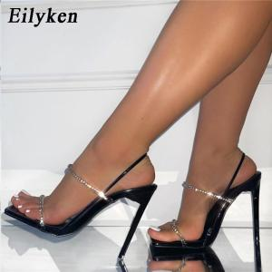 Eilyken 2021 New Back Strap Sandals Fashion Crystal Rhinestone Stiletto High Heels Summer Women Sexy Nightclub Stripper Shoes
