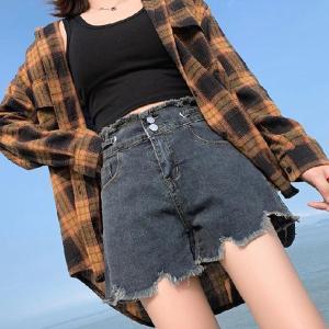 FTLZZ New Summer Women High Waist Hole Blue Denim Shorts Casual Female Single Breasted Jeans Vintage Ladies Shorts