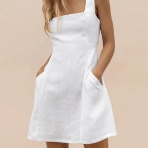 FSDA Pocket A Line 2020 Summer Dress Casual Women Backless Bandage Ruffles Blackless Sleeveless Off Shoulder White Dresses