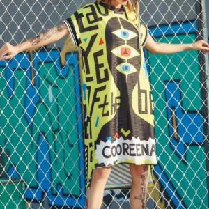 2021 Summer Women Cartoon Graffiti Straight Long T Shirts Dress Streetwear Hip Hop Dance Cloth