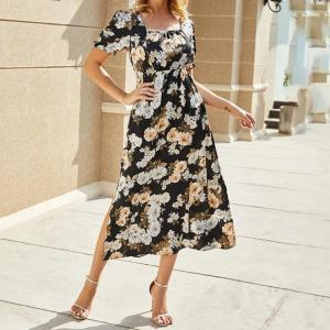 Long Dress Summer Flower Print Women Square-Neck Midi Sundress Elegant Lady Black Blue Puff-Sleeved Slit Clothing Pockets 2020