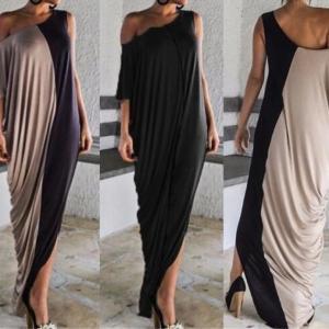 2021 Splice Contrast Panel Women Dress Summer Casual Loose Off Shoulder Short Sleeve Ladies Irregular Maxi Long Dress Vestidos