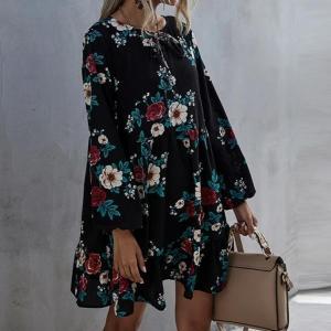2021 New Autumn Winter Ruffles Print Dress Women O-neck Full Sleeve High Waist Floral Dress Female Casual Black