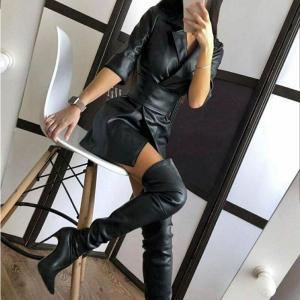 Notched PU Bandage Women's Dress Pure Faux Leather Ladies Jacket-Dress With Belt 2020 Autumn Winter Streetwear Vestido Female