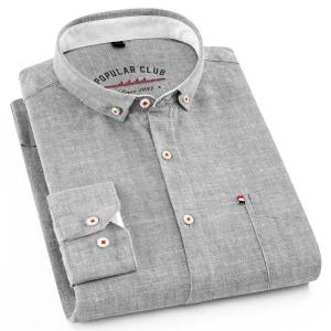 High Quality Long Sleeve Shirts For Men Cotton And Linen Turn-Down Collar Solid Casual Shirts Comfort Soft Men Brand