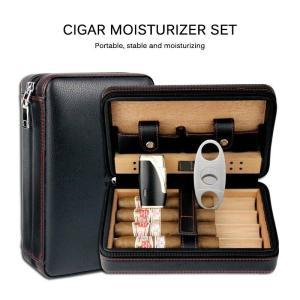 Cedar Wood Cigar Humidor Travel Portable Leather Cigar Case Cigars Box With Lighter Cutter Humidifier Humidor Box