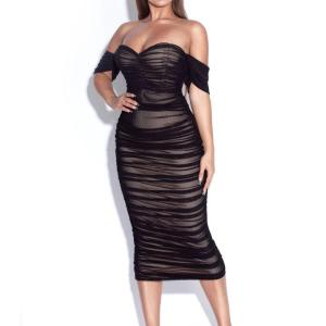 DEIVE TEGER Womans Bandage Mesh Off The Shoulder Backless Drape Ruched Casual Black Party Midi Dress For Women HL5533