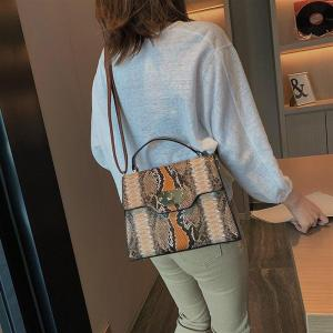 Female Small Messenger Handbag Women Tote Bag Faux PU Leather Colorful Snake Skin Bag Square Shoulder Python Bags for Women 2019