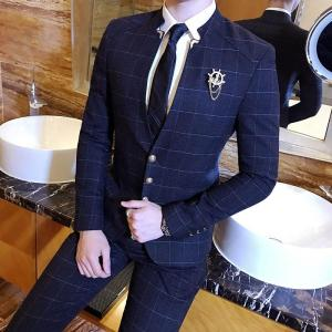 Korea style Mandarin Collar Men's Suits Plaid Male Fashion gold button Suits Slim Classic Business Wedding Dress Male