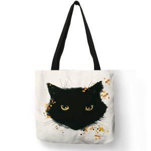 Customized Cute Watercolor Cat Painting Print  Womens Handbags Shoulder Bag Fabric Eco Reusable shopping Bags School Book Bag