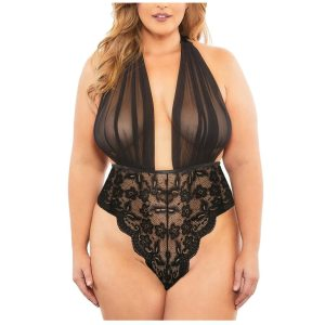 Hot Erotic Lingerie Plus Size Babydoll Sexy Underwear Women Sheer Lace Deep V Sexy Bodysuit Halter Backless Porno Lenceria Mujer