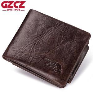 GZCZ 2019 Male Purse For Men Genuine Leather Men's Wallets Thin Male Wallet Card Holder Cowskin Soft Zipper Poucht Mini Purses