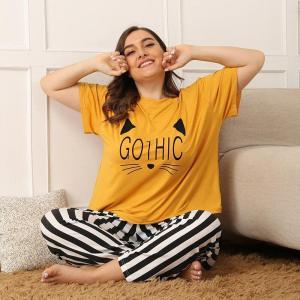 Ladies autumn plus size pajamas for women short sleeve loose yellow stripe T-shirt and long pants home wear suit 4XL 5XL 6XL 7XL