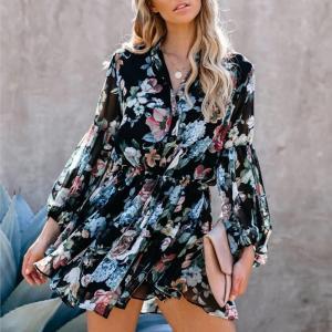 Women Ruffles Floral Printed Lace Up Waist Dress 2020 Autumn Lantern Sleeve Pleated Asymmetrical Buttons Sundress Short Dress