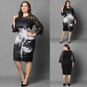 L-6XL Women Plus Size Dress Elegant Ladies Black Sheer Lace Sleeve Dress 2020 Chic Casual Printed Lace Evening Party Dresses D30