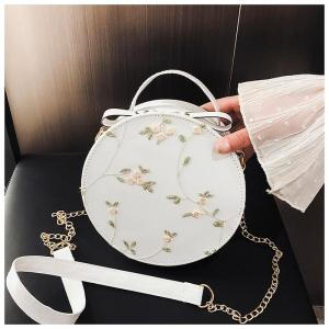Hot Sale Sweet Lace Round Handbags High Quality PU Leather Women Crossbody Bags Female Small Fresh Flower Chain Shoulder Bags