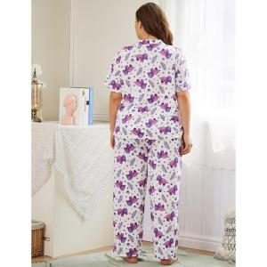 Ladies spring autumn plus size pajamas for women short sleeve floral print shirt and long pants home wear suit 4XL 5XL 6XL 7XL