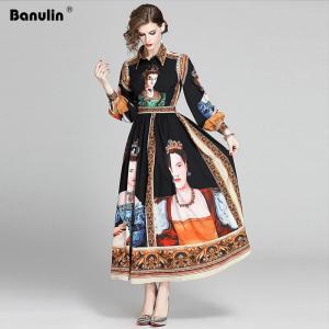 Banulin New Spring Charactor Print Long Dress Women 2020 Long Puff Sleeve Vintage Print High Waist A-Line Runway Maxi Dress