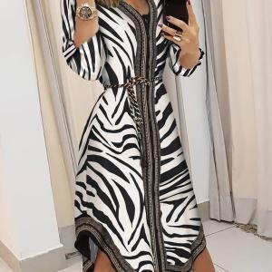 Zebra Print Irregular Casual Shirt Dress