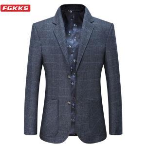 FGKKS Men Business Casual Blazers Men's Solid Color Plaid Suit Jacket Spring Autumn New Fashion Comfortable Blazers Male