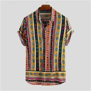 Men Shirt Ethnic Style Print Men Casual Shirt Lapel Neck Streetwear Short Sleeve Tops 2020 Loose Tropical Hawaiian Shirt Men