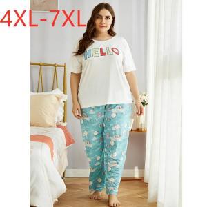 Ladies spring autumn plus size pajamas for women short sleeve white print T-shirt and long pants home wear suit 4XL 5XL 6XL 7XL