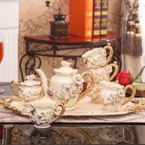 High Quality Ceramic Tea Set Home Waterware With Tray Ceramic Coffee Cup Set Creative Luxury Coffee Cup Wedding Nice Gifts