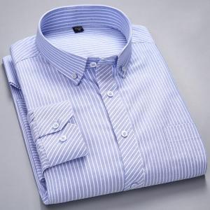 Men's Long-Sleeve Plaid Striped Oxford Shirts Single Patch Pocket Premium Quality Standard-fit Button Down Cotton Casual Shirt