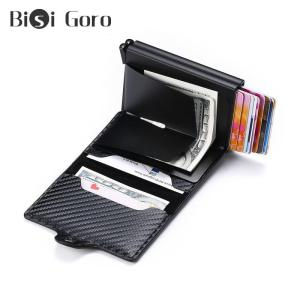 BISI GORO High Quality Carbon Fiber Card Wallet RFID Anti-theft Double Boxes Hasp Multifunctional Double Protection Men Wallets