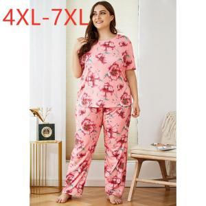 Ladies autumn plus size pajamas for women short sleeve loose floral flower T-shirt and long pants home wear suit 4XL 5XL 6XL 7XL