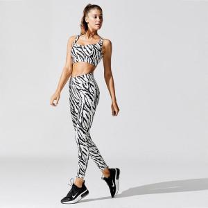 Zebra Workout Yoga Sets Female Sport Gym Suit Wear Running Clothes Women Fitness Sport Leggings Long Sleeve Yoga Clothing Bra