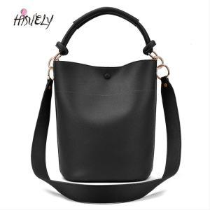 HISUELY Hot Sale 2020 Black Bucket Bag Women PU Leather Handbag Shoulder Bag Designer Ladies Crossbody Messenger Bag  sac a main