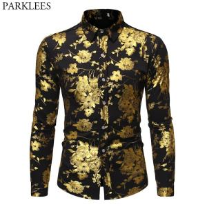 Men's Golden Rose Luxury Design Dress Shirts 2019 Autumn New Slim Fit Button Down Flowered Printed Stylish Party Club Shirt S-XL