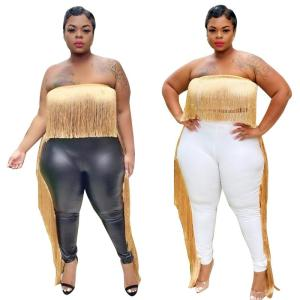 Party Backless Tassel Crop Top and Leather PU Pants Set Plus Size 2 Piece Set Women Sexy Club Outfits Wholesale Dropshipping
