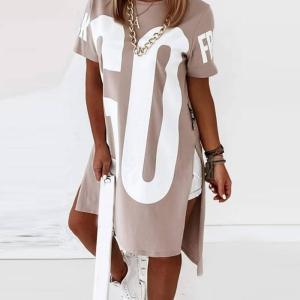 2020 New Basic Loose Round Neck Letter Print Dip Hem T-Shirt Dress Cotton Casual Short Sleeve Summer Women Dress