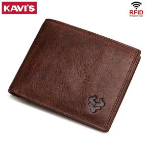 KAVIS Leather Wallets Mens Brand Leather Card Holder with Male Coin Purse for Zipper Walet Portomonee Rfid PORTFOLIO Small Mini