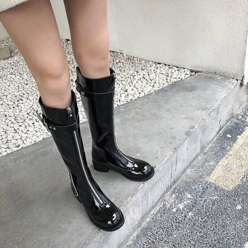 FEDONAS Newest Zipper Women Cow Patent Leather Knee High Boots Punk Party Shoes Woman Buckle High Heels Long Big Size Boots