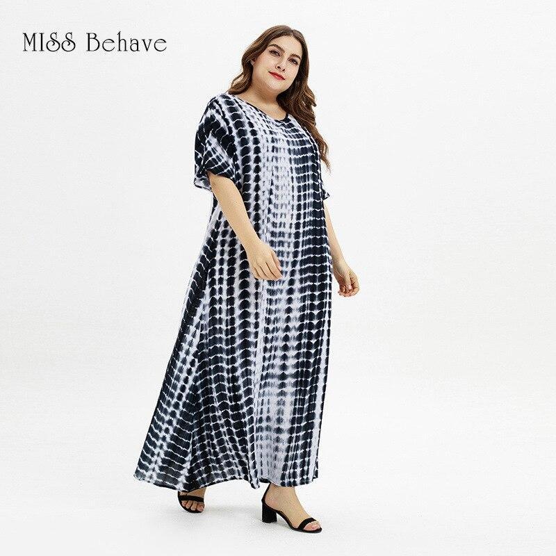 New 2021 summer plus size long dress for women large short sleeve loose casual black white print stripe cotton dress 4XL 5XL 6XL